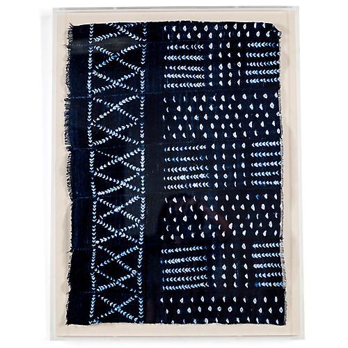 Indigo Mudcloth Framed Textile