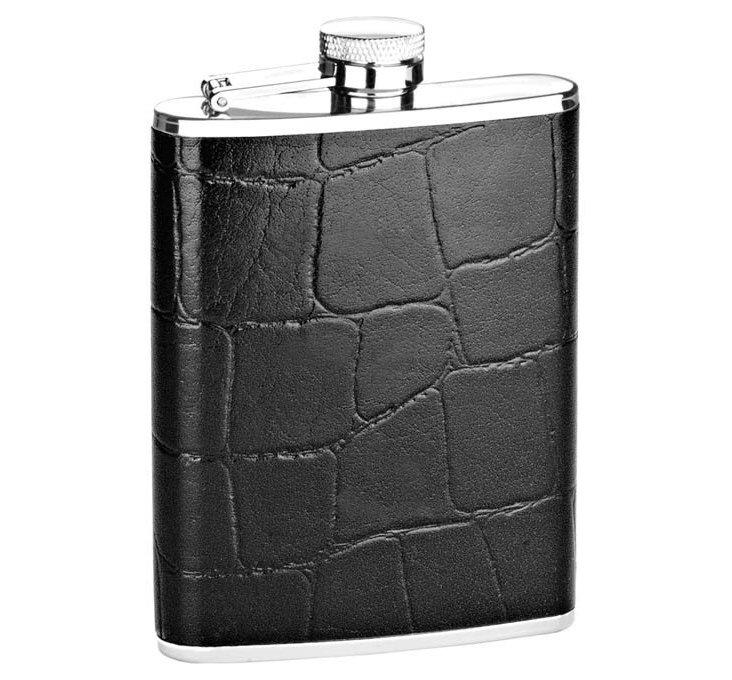Crocodile Leather Flask, Black