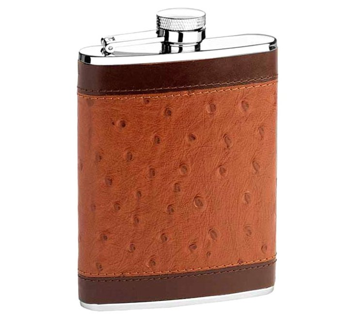 Leather Flask, Ostrich Print