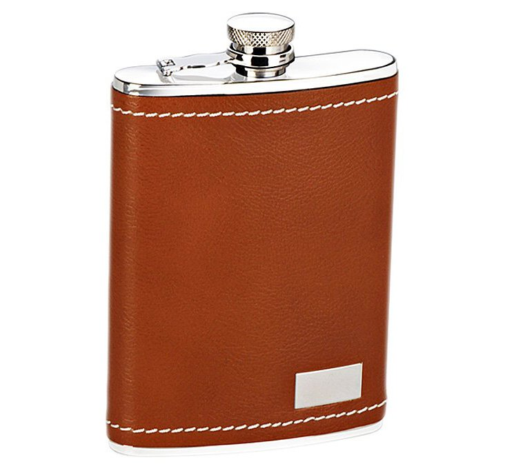 Leather Flask, Tan