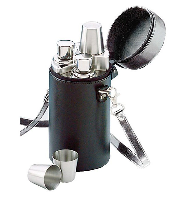 S/3 Flasks with Case, Black