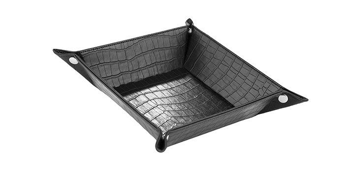 Croc Embossed Valet Tray, Black