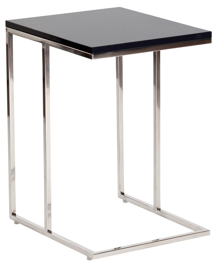 Posta Side Table, Charcoal/Silver