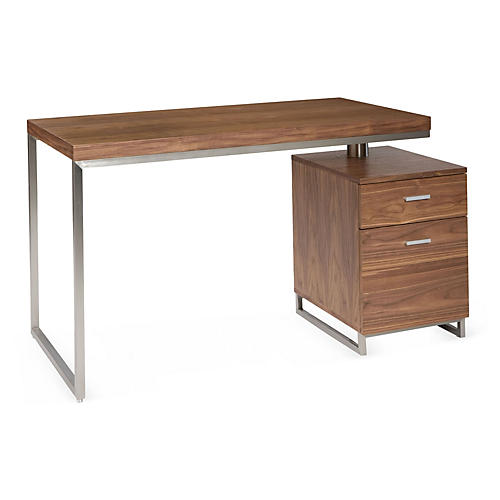 Alden Desk, Walnut/Silver
