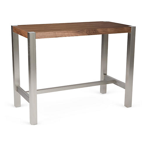 Millie Counter Table, Chestnut/Silver