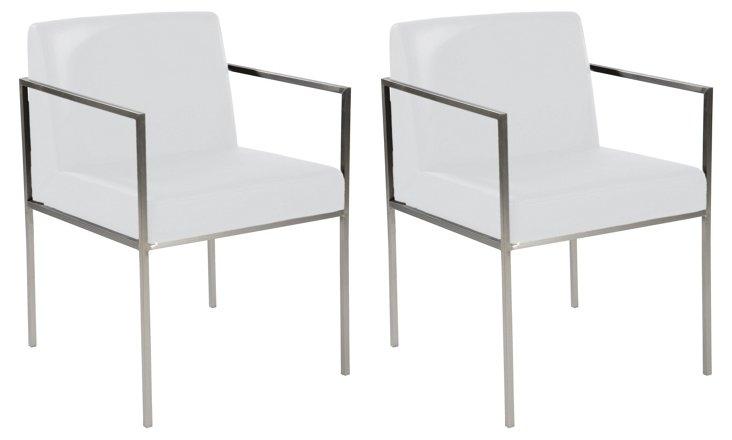 Sophie Desk Chair, White/Silver