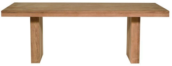 "Double Teak 71"" Dining Table, Natural"