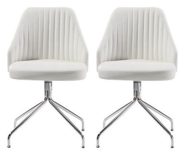 White Conti Dining Chairs, Pair