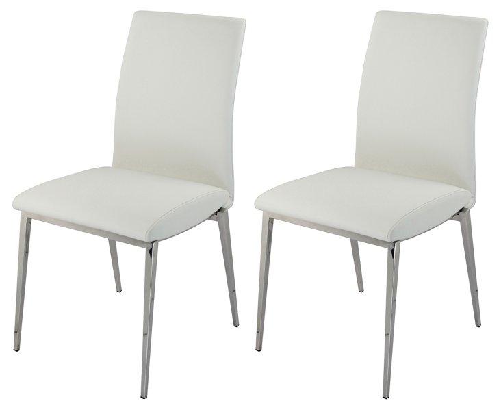 White Morton Side Chairs, Pair