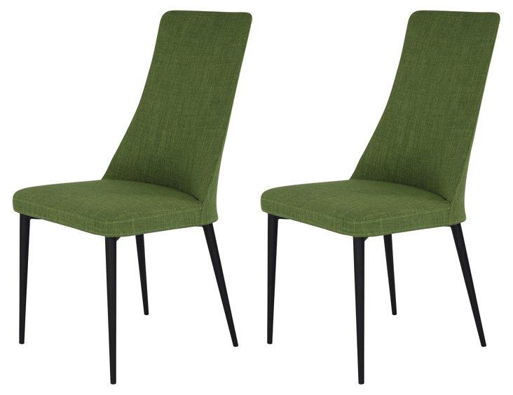 Green Palm Chairs, Pair