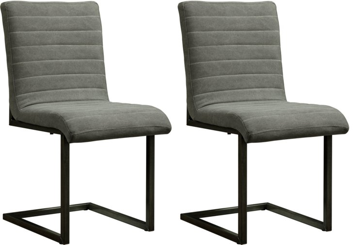 Gray Jee Side Chairs, Pair