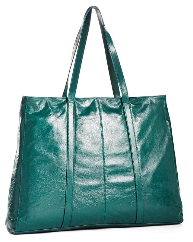 Leather Finn Tote, Emerald
