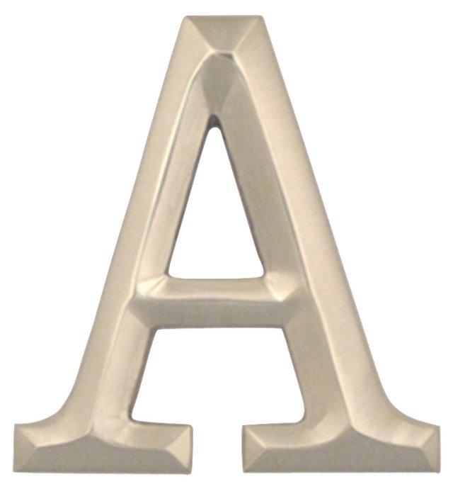 Letter A Monogram Door Knocker, Nickel