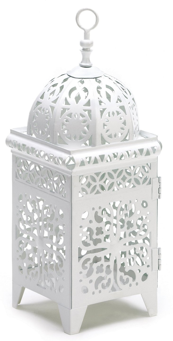 "Pair of 11"" Scrollwork Lanterns, White"