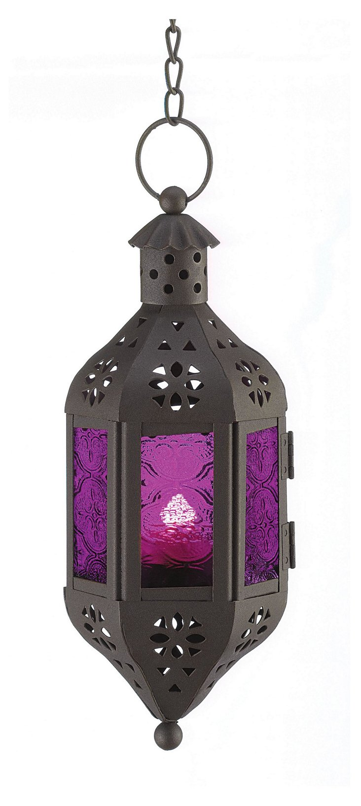 "S/2 10"" Mystical Candle Lanterns, Purple"