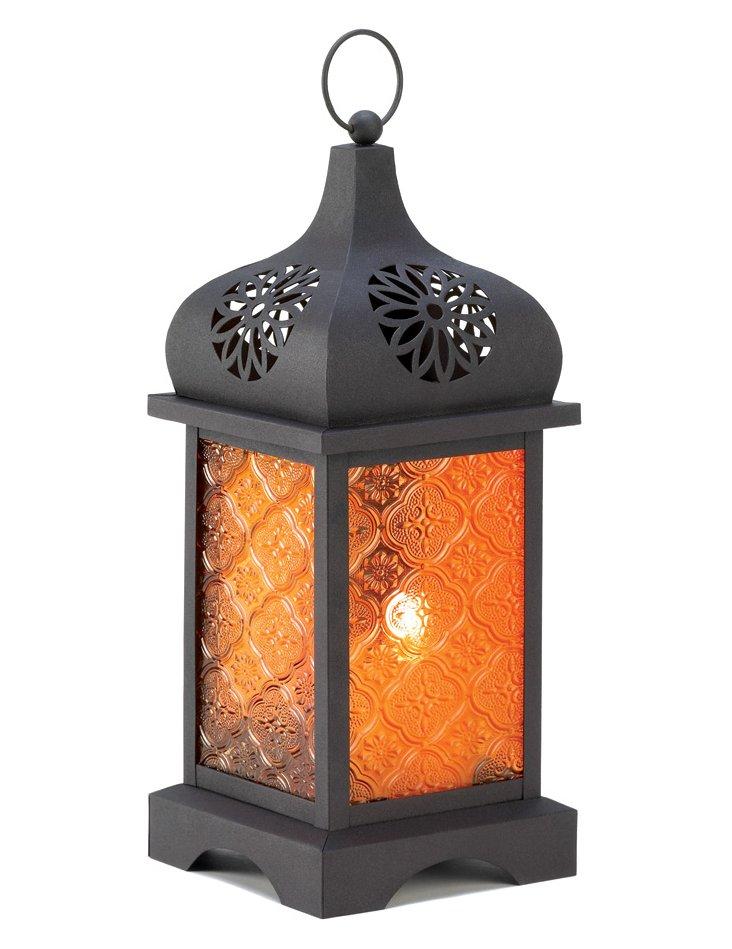 "S/2 12"" Moroccan Lanterns, Orange"