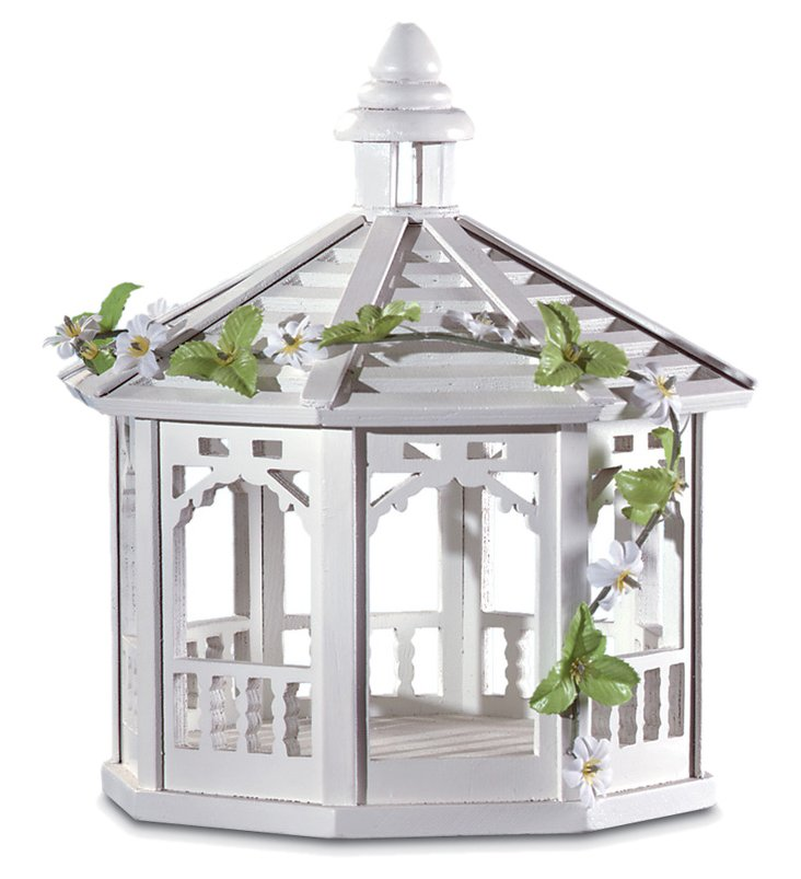 "11"" Sweet Pavilion Bird Feeder, White"