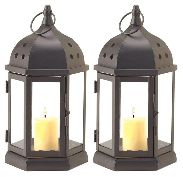 "S/2 10"" Dome Candle Lanterns, Black"