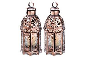 """S/2 10"""" Moroccan Lanterns, Copper"""