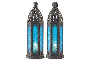 "S/2 13"" Candle Lanterns, Blue"