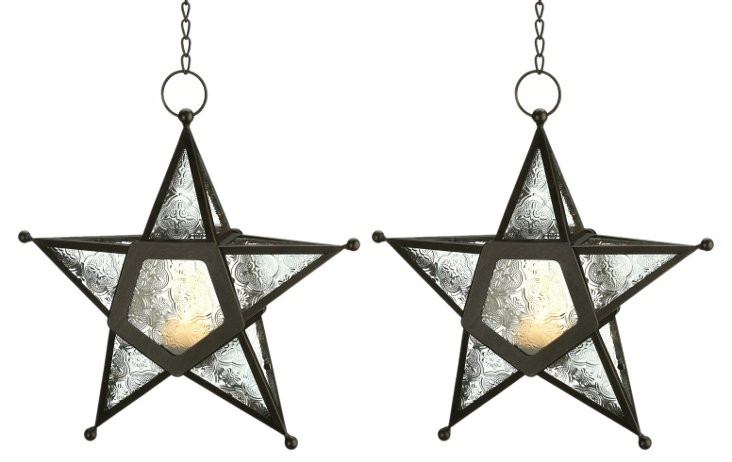 "S/2 11"" Star Candle Lanterns, Black"