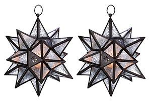 "S/2 14"" Moroccan Star Lanterns, Black"