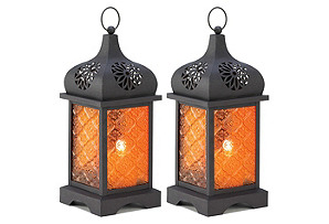 "S/2 12"" Moroccan Lanterns, Black/Orange"