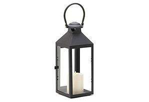 "S/2 12"" Americana Candle Lanterns, Black"