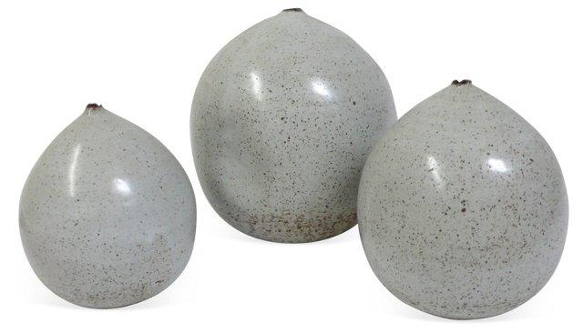 Stoneware Orbs Vases, Set of 3