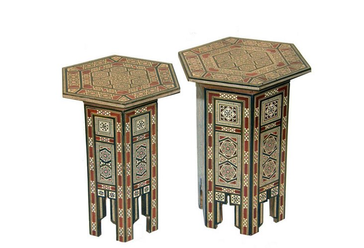 2-Piece Wood Mosaic Inlay Tables
