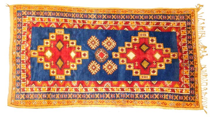 "8'6"" x 4'11"" Moroccan Tribal Rug, Blue"