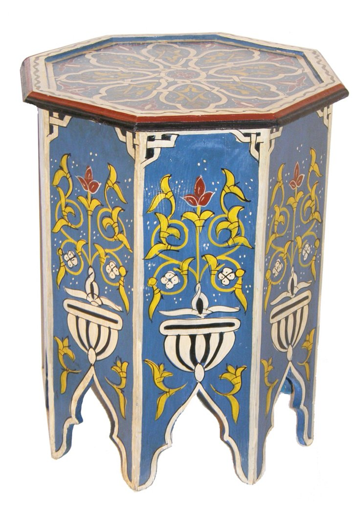 Marrakesh Side Table, Sky Blue/Multi