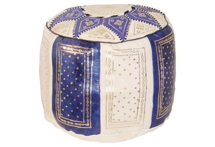 Moroccan Pouf, Blue/White