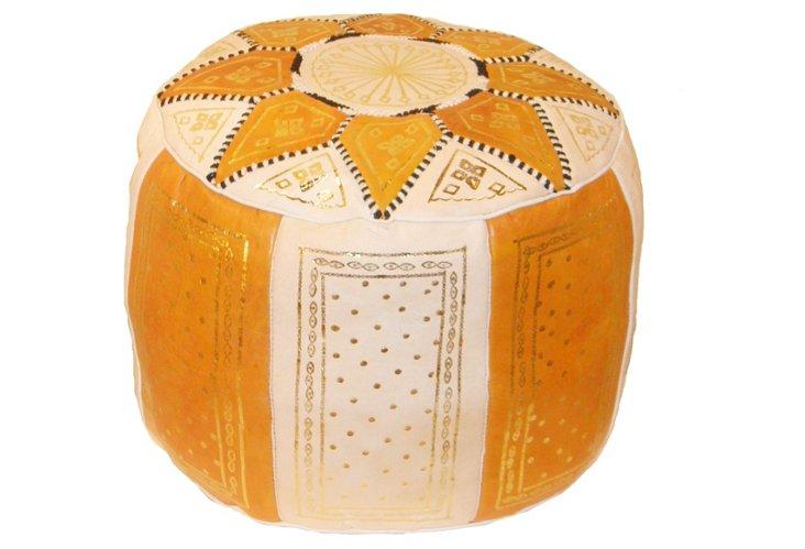 Moroccan Pouf, Orange/White