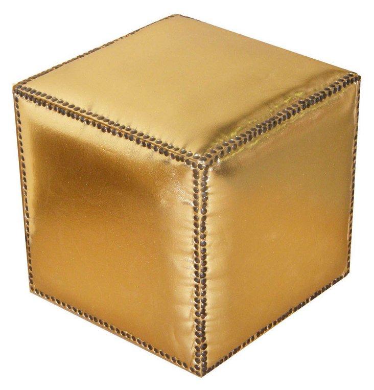 Corrine Cube Pouf, Gold