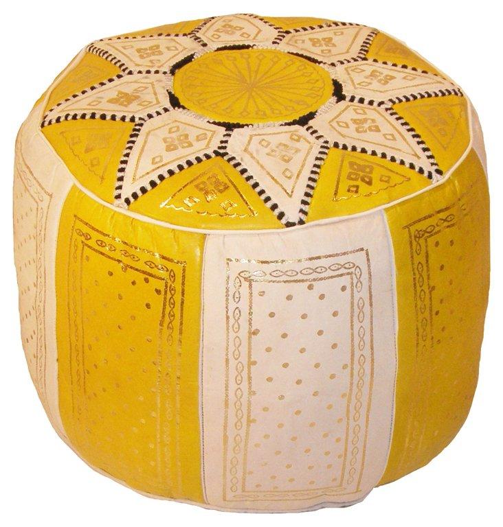 Riad Leather Pouf, Lemon