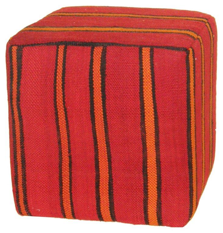 Kilim Pouf, Red/Orange