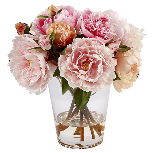 "13"" Peony in Glass Vase, Faux"