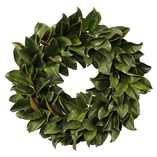 30'' Magnolia Leaf Wreath, Faux