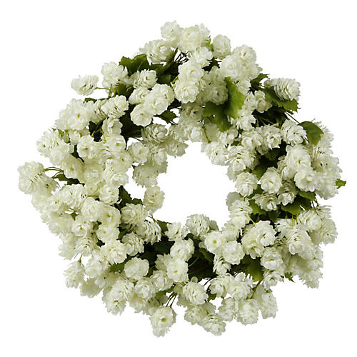 16'' White Hops Wreath, Faux