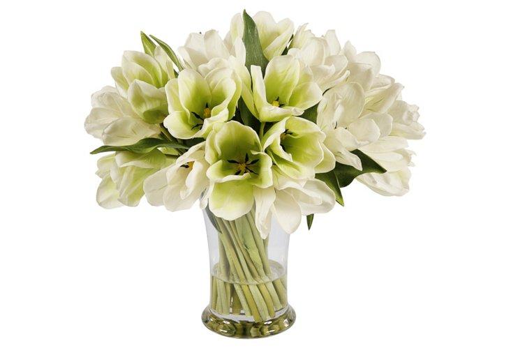 """19"""" Tulips in Vase, Faux"""