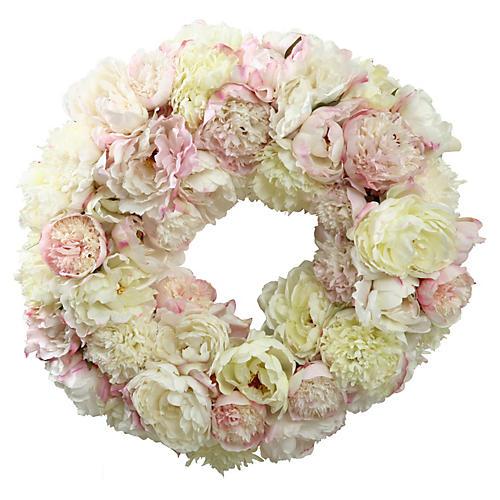 "24"" Peony Wreath, Faux"