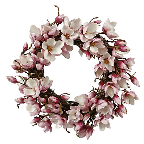 24'' Magnolia Wreath, Faux