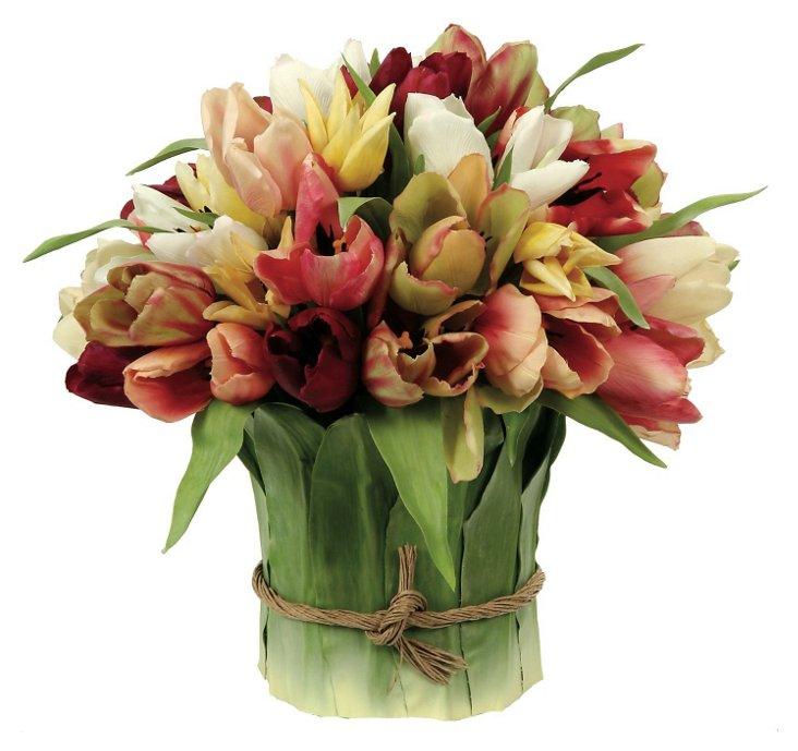 """16"""" Tulips in Leaf Basket, Faux"""