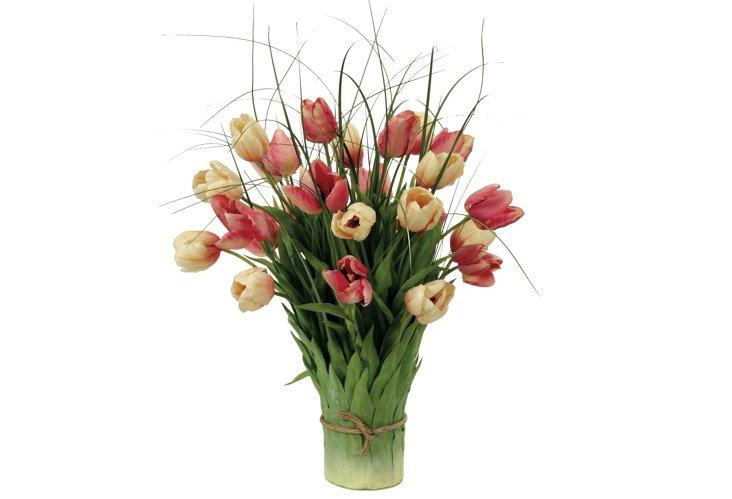 Tulips in Leaf Vase, Large