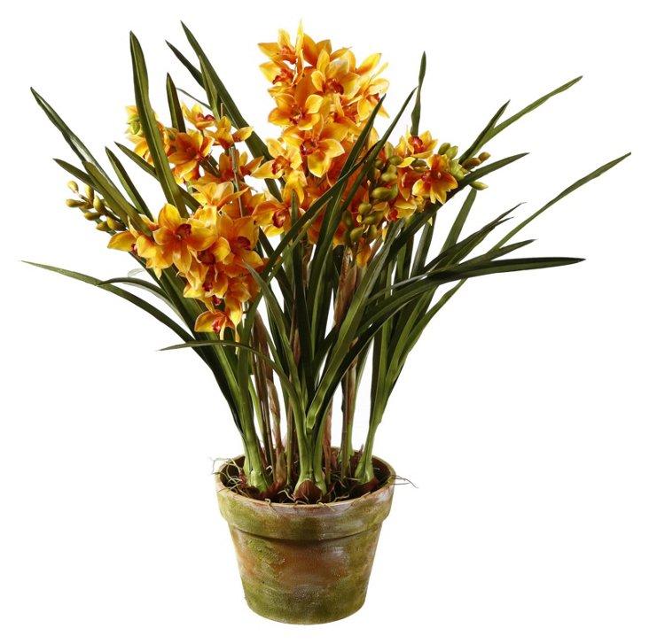 "35"" Cymbidium Orchid in Pot, Faux"