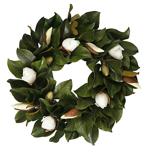 24'' Magnolia Wreath, Faux
