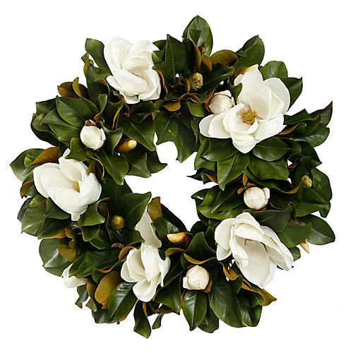 30'' Magnolia Wreath, Faux