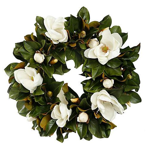 30'' Magnolia Wreath, Faux