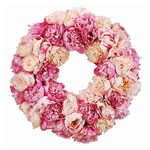 24'' Peony Wreath, Faux